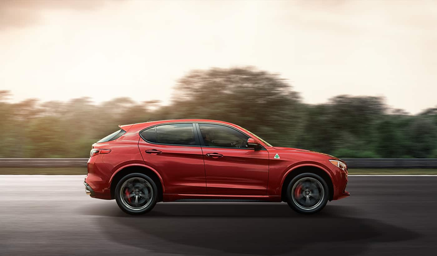 2019 Alfa Romeo Stelvio Quadrifoglio Side View Running Shot